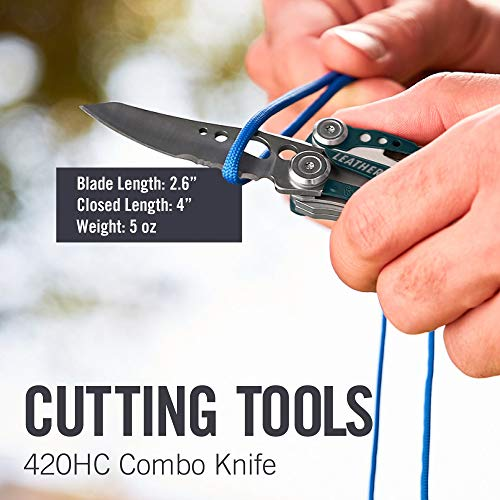 LEATHERMAN - Skeletool Lightweight Multitool with Combo Knife and Bottle Opener, Columbia Blue