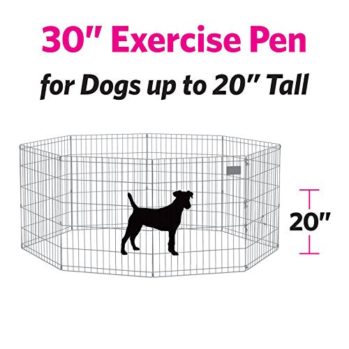 "MidWest Foldable Metal Exercise Pen / Pet Playpen. Black w/ door, 24""W x 30""H"