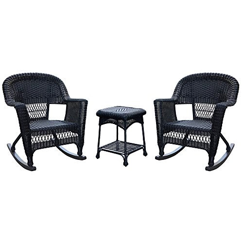 Jeco W00207R-D_2-RCES 3 Piece Rocker Wicker Chair Set, Black