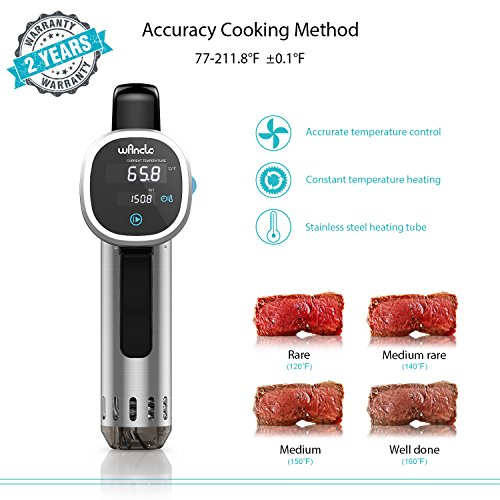 Sous Vide Cooker, Wancle Thermal Immersion Circulator, with Recipe E-Cookbook, Accurate Temperature Digital Timer, Ultra-quiet, 850 Watts, 120V, Stainless Steel/Black