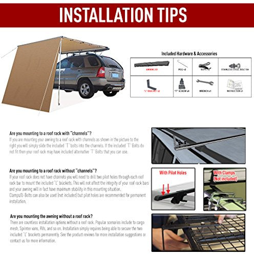 Offroaidng Gear 6.5'L x 8'W Roof Rack 4x4 Awning w/Free 6.5' Front Extension, for Car/SUV/Truck - Dark Beige