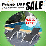 PatioPost Chaise Lounge Outdoor Patio Poolside Textilene Chair 3 Pc Set w/Side Table, Grey