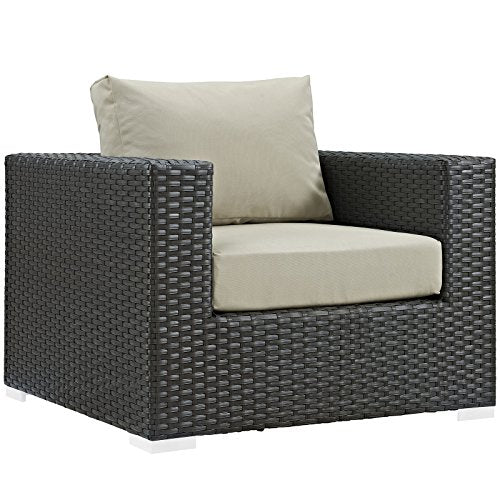 Modway EEI-1850-CHC-BEI Sojourn Wicker Rattan Outdoor Patio Coffee Table, Armchair, Canvas Antique Beige