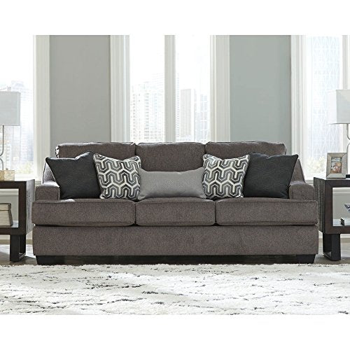 Ashley Furniture Signature Design - Gilmer Chenille Upholstered Sofa w/Accent Pillows - Contemporary - Gunmetal