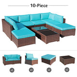 OC Orange-Casual 10 Piece Outdoor Furniture Sectional Sofa Set Rattan Wicker Patio Conversation Set with Seat and Back Cushions & Coffee Table, Brown & Turquoise