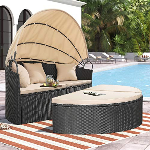 Homall Outdoor Patio Round Daybed with Retractable Canopy Wicker Furniture Sectional Seating with Washable Cushions for Patio Backyard Porch Pool Daybed Separated Seating (Beige)