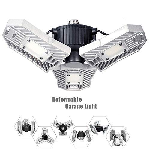 LED Garage Lights, 60W Adjustable Trilights Garage Ceiling Light, High Bay Deformable LED Corn Light Bulbs with 6000LM 6000K for Basement Cellar (CFL HID HPS Metal Halide Lamps 300W-400W Equiv.)