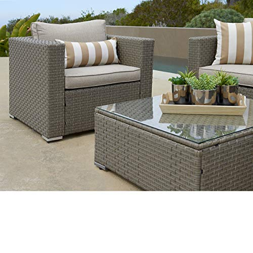 SUNCROWN Outdoor Furniture Sectional Sofa and Chair (6-Piece Set) All-Weather Checkered Wicker with Grey Seat Cushions and Modern Glass Coffee Table, Patio, Backyard, Pool, Waterproof Cover