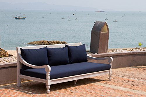 Safavieh Outdoor Collection Pasadena Antiqued White/ Navy Acacia Wood Cushioned Daybed
