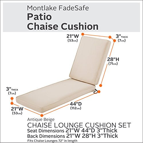 "Classic Accessories Montlake Chaise Cushion Foam & Slip Cover, Antique Beige, 72x21x3"" Thick"