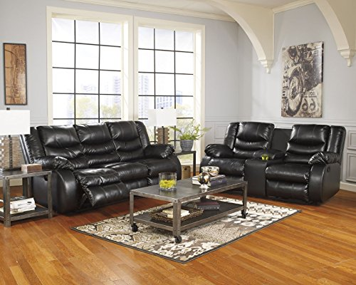 Signature Design by Ashley 9520288 Linebacker DuraBlend Collection Reclining Sofa, Black