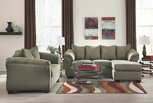 Ashley Furniture Signature Design - Darcy Contemporary Microfiber Sofa Chaise - Sage