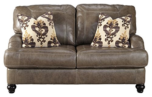Ashley Furniture Signature Design - Kannerdy Contemporary Faux Leather Sloped Arm Loveseat - Quarry Brown