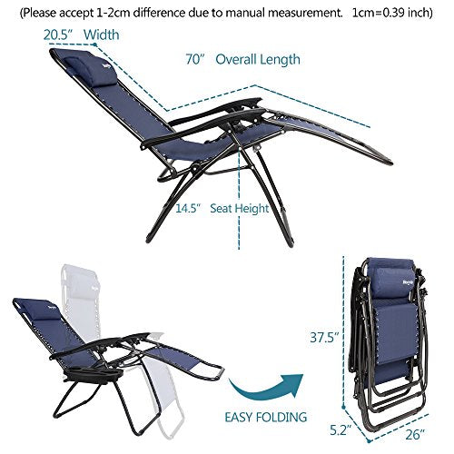 Bonnlo Infinity Zero Gravity Chair, Outdoor Lounge Patio Chairs with Pillow and Utility Tray Adjustable Folding Recliner for Deck,Patio,Beach,Yard Pack 2(Blue)