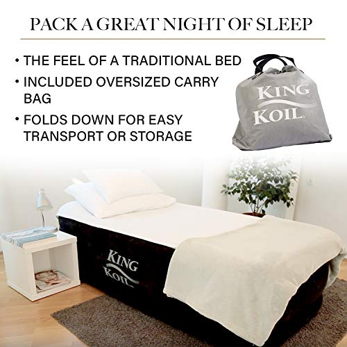 King Koil Twin Air Mattress with Built-in Pump - Double High Elevated Raised Airbed for Guests with Comfortable Top ONLY Bed with 1-Year Guarantee