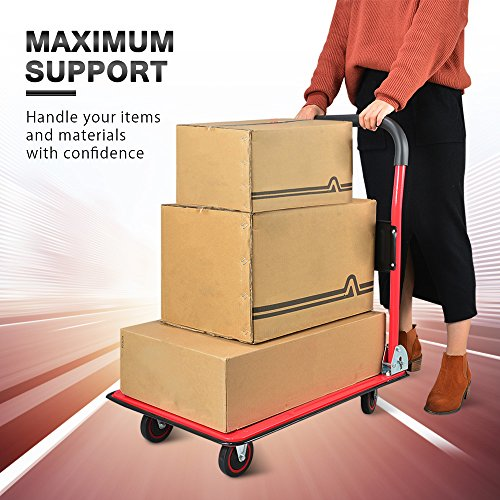 Push Cart Dolly by Wellmax, Moving Platform Hand Truck, Foldable for Easy Storage and 360 Degree Swivel Wheels with 330lb Weight Capacity, Red Color