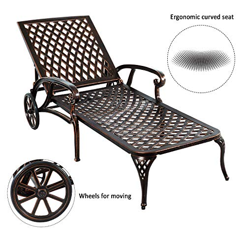 HOMEEFUN Chaise Lounge Outdoor Chair, Aluminum Pool Side Sun Lounges with Wheels Adjustable Reclining, Patio Furniture Set, Pack of 1(Antique Bronze)