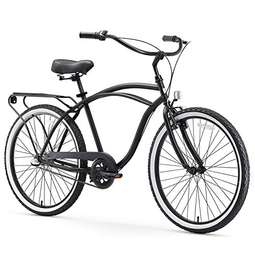 "sixthreezero Around The Block Men's 3-Speed Beach Cruiser Bicycle, 24"" Wheels, Matte Black, 15""/One Size"
