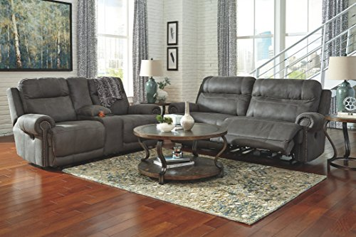 Ashley Furniture Signature Design - Austere Recliner Loveseat with Console - Pull Tab Manual Reclining - Contemporary - Gray