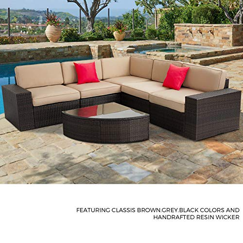 SUNCROWN Outdoor Furniture Sectional Sofa and Wedge Table (6-Piece Set) All-Weather Brown Wicker with Washable Seat Cushions and Modern Glass Coffee Table, Patio, Backyard, Pool, Waterproof Cover