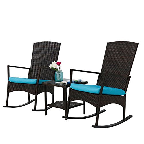 Kinbor 3PCS Outdoor PE Rattan Rocker Chair Side Tea Table Set, Garden Rocking Wicker Lounge w/Blue Cushion