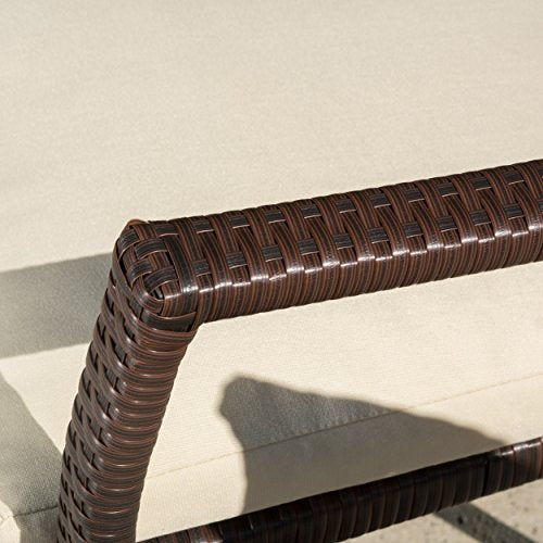 Melba Outdoor Brown Wicker Dining Chair with Beige Cushion (set of 2)