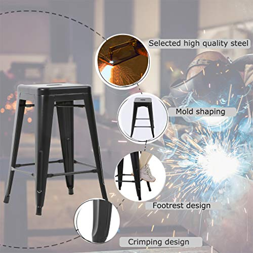 Counter Height Bar Stools Set of 4 Stackable Barstools Kitchen Counter Stool Bar Stools 30 Inches Indoor Outdoor Stool Metal Bar Stools Moden Dining Chair