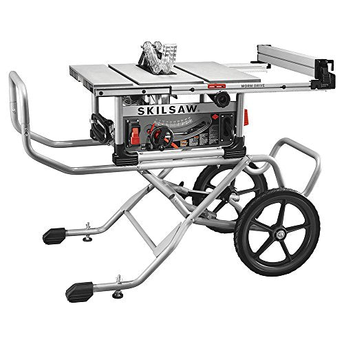 """SKILSAW SPT99-11 10"""" Heavy Duty Worm Drive Table Saw with Stand, Silver"""