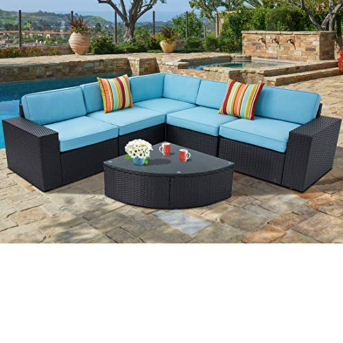 SUNCROWN Outdoor Furniture Sectional Sofa and Wedge Table (6-Piece Set) All-Weather Black Wicker Washable Seat Cushions and Modern Glass Coffee Table, Patio, Backyard, Pool, Waterproof Cover