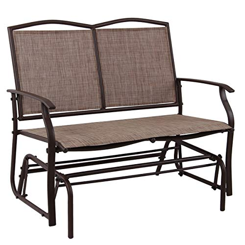 PHI VILLA Patio Swing Glider Bench for 2 Persons Rocking Chair, Garden Loveseat Outdoor Furniture