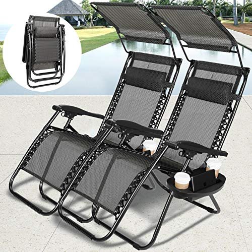 Vosson Folding&Adjustable Zero Gravity Lounge Chair 2 Pack Zero Gravity Chair for Patio Beach Outdoor Camping Pool Yard with Pillow&Canopy Shade&Cup Holder Tray(Black)