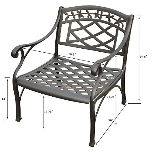Crosley Furniture Sedona Solid-Cast Aluminum Outdoor Club Chair - Black