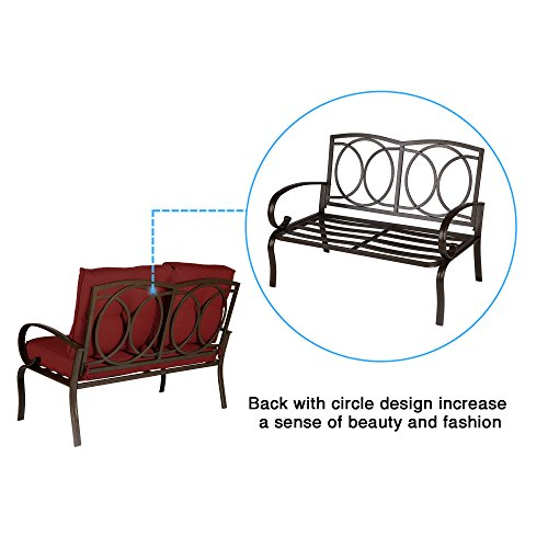 Cloud Mountain Patio Loveseat Outdoor 2 PCs Loveseat Furniture Set Garden Patio Love Seat Bench Sofa with Cushions, Brick Red