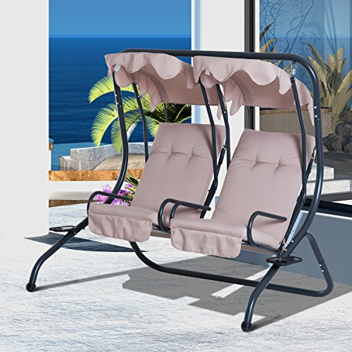 Outsunny 2 Person Outdoor Hanging Porch Seat Swing Chairs with Canopy - Beige