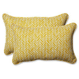 Pillow Perfect Outdoor | Indoor Herringbone Egg Yolk Rectangular Throw P, 2 Piece