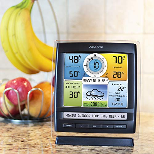 AcuRite 01078 Wireless Weather Station with 2 Displays and 5-in-1 Weather Sensor: Temperature and Humidity Gauge, Rainfall, Wind Speed and Wind Direction