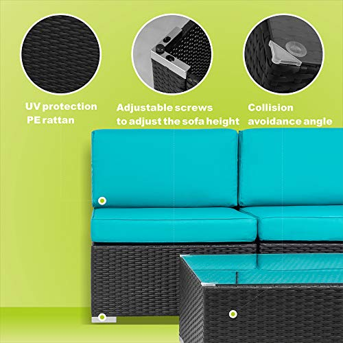 Walsunny 3pcs Patio Outdoor Furniture Sets,All-Weather Rattan Sectional Sofa with Tea Table&Washable Couch Cushions (Black Rattan) (Khaki)