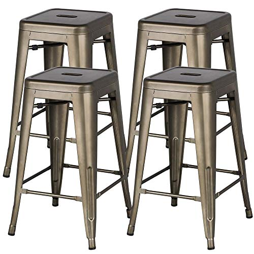 Yaheetech 24'' Metal Bar Stools Counter Height Barstools Set of 4 High Backless Industrial Stackable Metal Chairs Indoor/Outdoor,Gun Metal