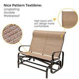 PatioPost Outdoor Swing Glider Bench Aluminum Chair for 2 Person Garden Rocking Loveseat - Mocha