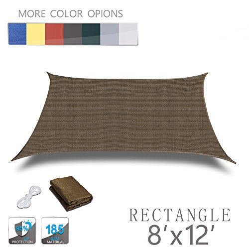 Love Story 8' x 12' Rectangle Brown UV Block Sun Shade Sail Perfect for Outdoor Patio Garden