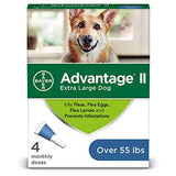 Flea and Lice Treatment for Dogs, Over 55 lb, 4 doses, Advantage II