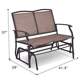 Giantex Patio Glider Bench Textilene and Stable Steel Frame for Outdoor Backyard,Beside Pool,Lawn, Swing Loveseat Patio Swing Rocker Lounge Glider Chair
