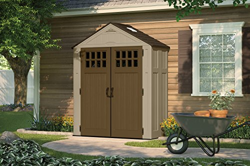 """Suncast 6 ' x 3' Everett Storage Shed - Outdoor Storage for Backyard Tools and Accessories - All-Weather Resin Material, Transom Windows and Shingle Style Roof - Wood Grain Texture"""