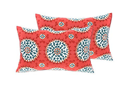 "RSH DECOR Set of 4 Indoor/Outdoor Pillows - 17"" Square Throw Pillows & Rectangle/Lumbar Decorative Throw Pillows - Red, Coral, Turquoise - Watermelon Sundial"