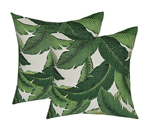 "RSH DECOR Set of 2 - Indoor/Outdoor 17"" Square Decorative Throw/Toss Pillows - Made with Tommy Bahama Swaying Palms - Aloe - Green Tropical Palm Leaf"