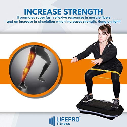 LifePro Vibration Plate Exercise Machine - Whole Body Workout Vibration Fitness Platform w/Loop Bands - Home Training Equipment for Weight Loss & Toning (Black)