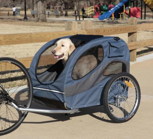 PetSafe Solvit HoundAbout Pet Bicycle Trailer for Dogs, Steel Frame, Large