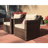 SUNSITT Patio Outdoor Furniture 2-Piece Brown Wicker Single Club Chairs w/Beige Olefin Cushions & Striped Throw Pillow