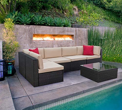 KaiMeng 6 Piece Lawn Garden Outdoor Patio Furniture Sets, Black Brown Ratten Wicker Sectional Sofa Sectional Conversation Set with Seat Cushions