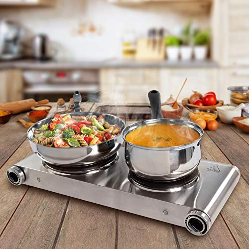SUNAVO Hot Plates for Cooking Electric Double Burner, 1800W Portable Burner Electric Stainless Steel